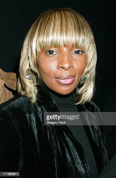 Mary J Blige during Sean John Fall 2003 Fashion Show at Ciprianis in New York NY United States