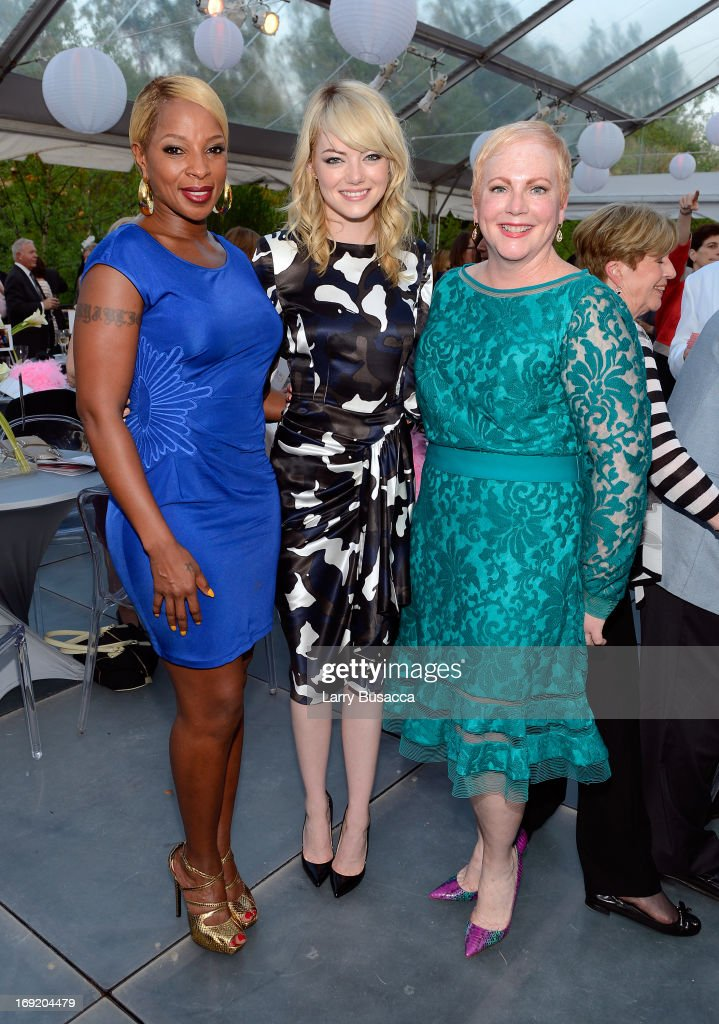 Mary J. Blige, Emma Stone, and Krista Stone attend the 2013 Peace, Love & A Cure Triple Negative Breast Cancer Foundation Benefit on May 21, 2013 in Cresskill, New Jersey.