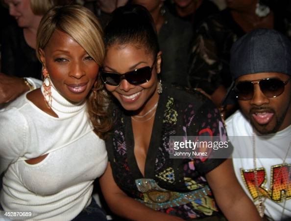 Mary J Blige Janet Jackson and Jermaine Dupri during Olympus Fashion Week Spring 2005 Baby Phat Front Row at Skylight Studio in New York City New...