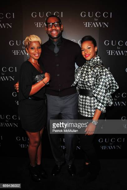 Mary J Blige LeBron James and Savannah Brinson attend GUCCI Cocktail Party for FFAWN at Gucci on 5th Avenue on September 16 2009 in New York City