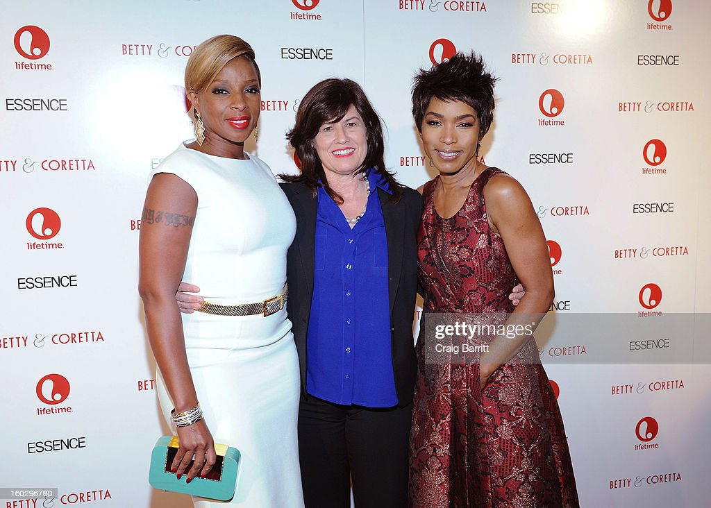 Mary J. Blige, Lifetime SVP Original Movies Tanya Lopez and <a gi-track='captionPersonalityLinkClicked' href=/galleries/search?phrase=Angela+Bassett&family=editorial&specificpeople=171174 ng-click='$event.stopPropagation()'>Angela Bassett</a> attend the premiere of 'Betty & Coretta' to celebrate with Lifetime and cast at Tribeca Cinemas on January 28, 2013 in New York City.
