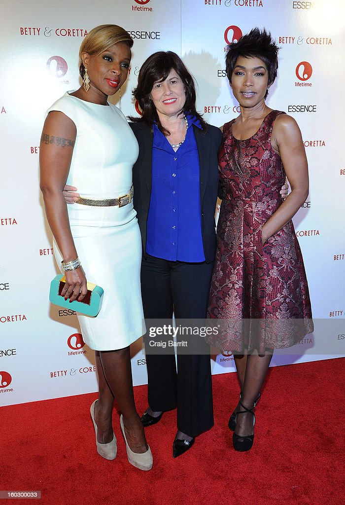 Mary J. Blige, Lifetime SVP Original Movies Tanya Lopez and Angela Bassett, attend the premiere of 'Betty & Coretta' to celebrate with Lifetime and cast at Tribeca Cinemas on January 28, 2013 in New York City.