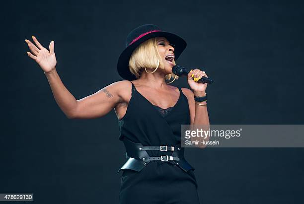Mary J Blige performs at the Glastonbury Festival at Worthy Farm Pilton on June 26 2015 in Glastonbury England