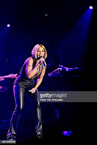 Mary J Blige performs on stage at Port Of Rotterdam on July 10 2015 in Rotterdam Netherlands