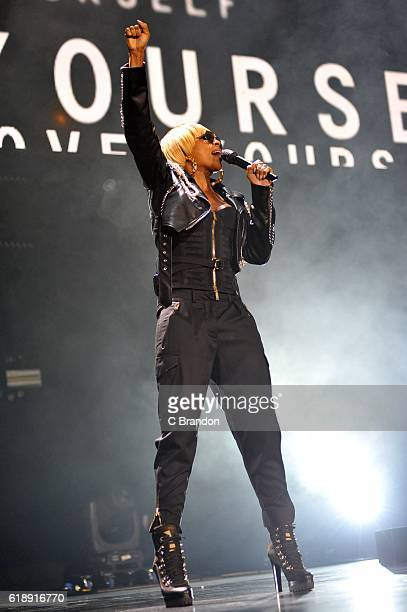 Mary J Blige performs on stage at the O2 Arena on October 28 2016 in London England