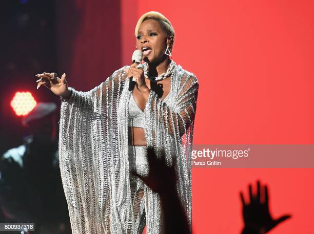 Mary J Blige performs onstage at 2017 BET Awards at Microsoft Theater on June 25 2017 in Los Angeles California