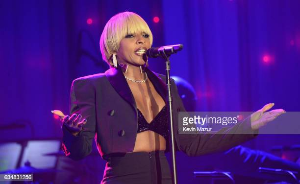 Mary J Blige performs onstage at PreGRAMMY Gala and Salute to Industry Icons Honoring Debra Lee at The Beverly Hilton on February 11 2017 in Los...