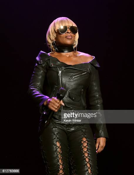 Mary J Blige performs onstage during the Bad Boy Family Reunion Tour at The Forum on October 4 2016 in Inglewood California