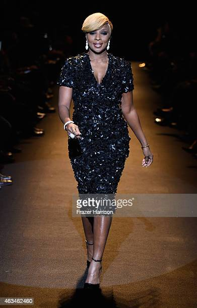 Mary J Blige walks the runway at Naomi Campbell's Fashion For Relief Charity Fashion Show during MercedesBenz Fashion Week Fall 2015 at The Theatre...