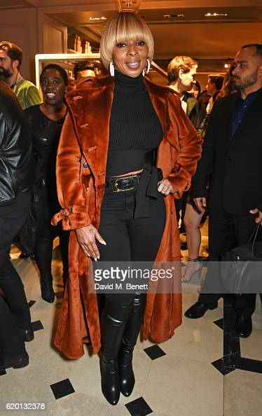 Mary J Blige wearing Burberry attends an event to celebrate 'The Tale of Thomas Burberry' at Burberry's all day cafe Thomas's on November 1 2016 in...