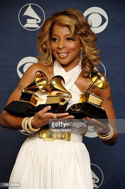 Mary J Blige winner Best Female RB Vocal Performance for 'Be Without You' Best RB Song for 'Be Without You' and Best RB Album for 'The Breakthrough'