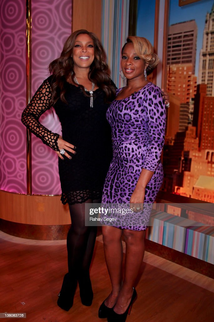 Mary J Blige with Wendy Williams after she appearing on 'The Wendy Williams Show' at The Wendy Williams Show Studio on February 2 2012 in New York...