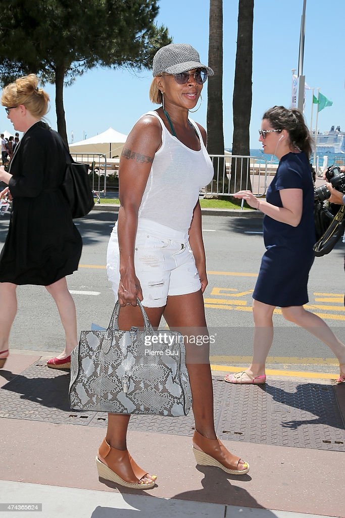 Mary Jane Blige is seen strolling the croisette during the 68th annual Cannes Film Festival on May 22 2015 in Cannes France