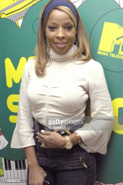 Mary JBlige during Mary J Blige Young Jeezy and Tyrese visit MTV's 'TRL' December 12th 2006 at MTV Studios in New York City New York United States