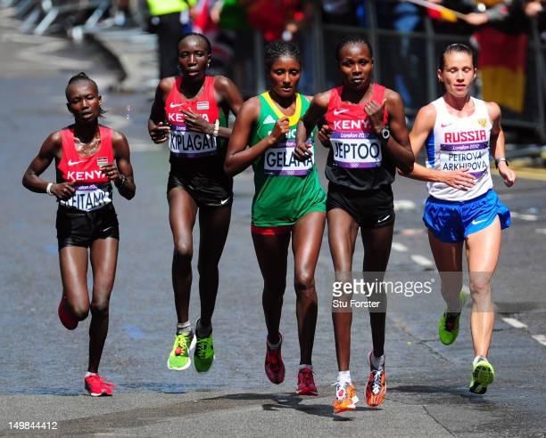 Mary Jepkosgei Keitany of Kenya Edna Ngeringwony Kiplagat of Kenya Tiki Gelana of Ethiopia Priscah Jeptoo of Kenya Tatyana Petrova Arkhipova of...