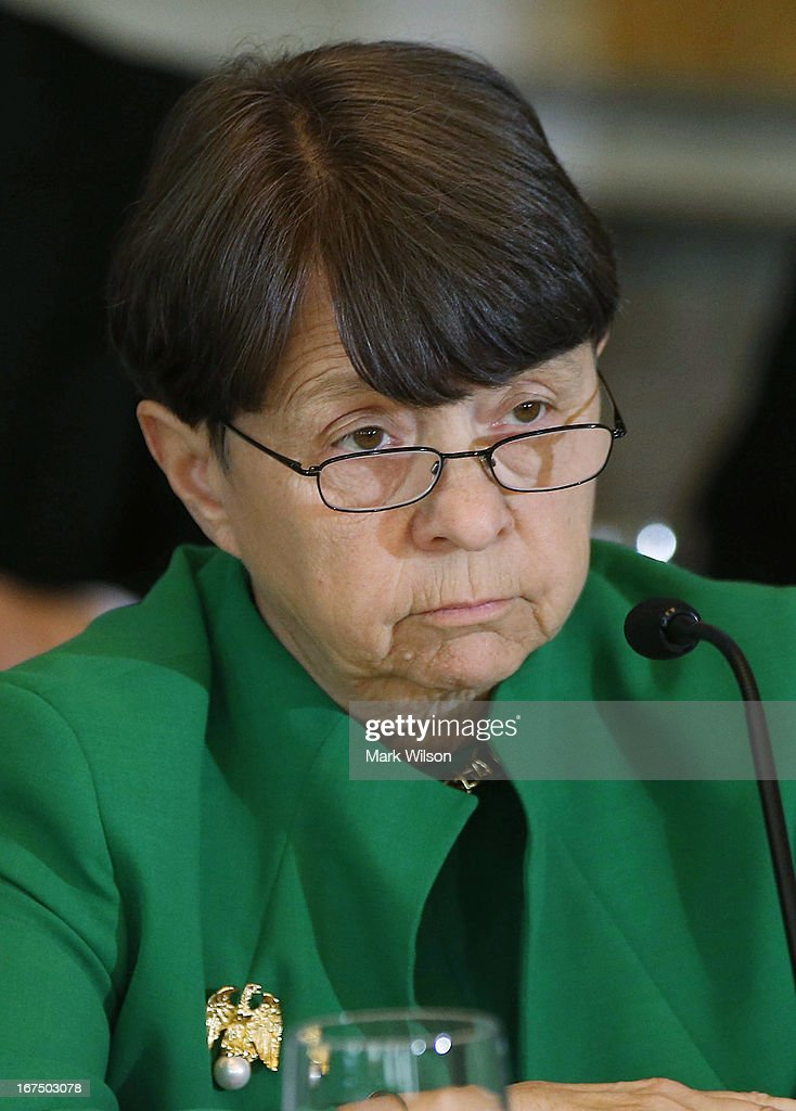 Mary Jo White, Chairman of the U.S. Securities and Exchange Commission participates n open session of the Financial Stability Oversight Council at the Treasury Department, April 25, 2013 in Washington, DC. The session was held to discuss the financial markets and emerging threats to financial stability, and make relevant recommendations.