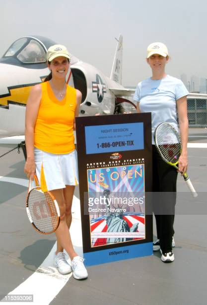 Mary Joe Fernandez and Monica Seles during Monica Seles and Mary Joe Fernandez Join NYC Kids for the Debut of Blue Tennis Court and Tennis Tips on...