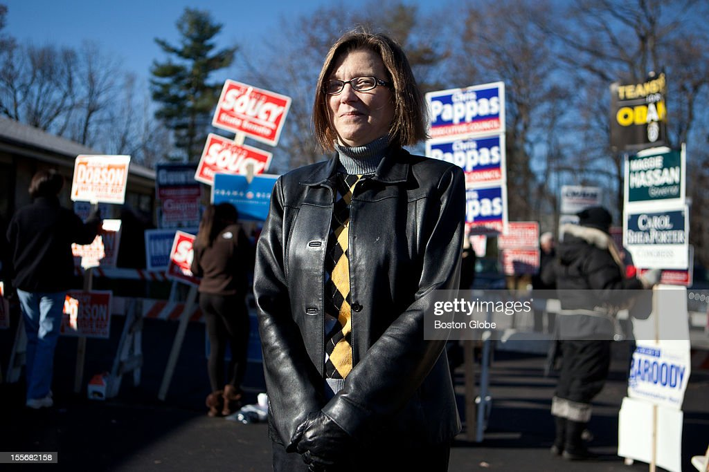 Mary Johnson, 53, poses for a portrait after voting at the St. Pius CCD Center in Manchester, New Hampshire on Election Day, November 6, 2012. Johnson voted for Romney, and is an undeclared voter.