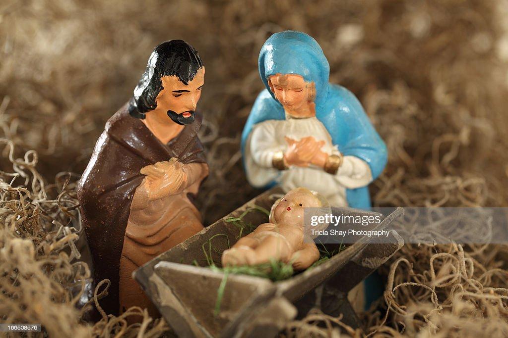 Mary Joseph and Jesus, antique figurines