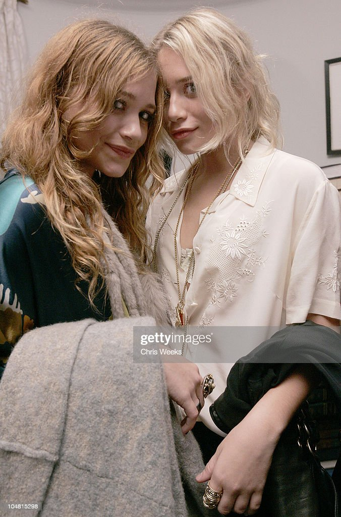 Mary Kate Olsen and Ashley Olsen during Tsubi Party at the Chateau Marmont October 20 2005 at Chateau Marmont in West Hollywood California United...