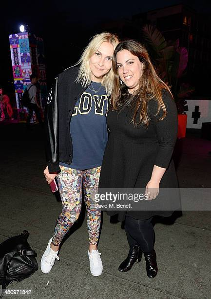 Mary Katrantzou and Becky Tong attend a rooftop party in Shoreditch London to celebrate the launch of Mary Katrantzou for adidas Originals Season 2...