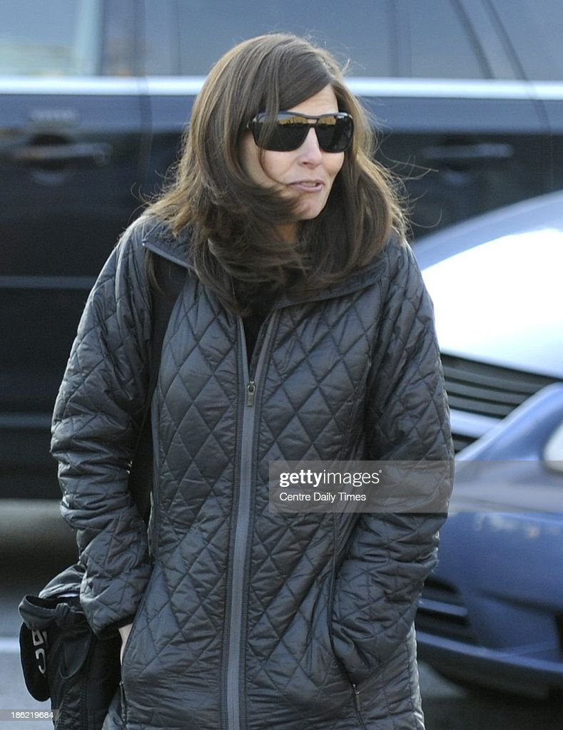 Mary Kay Paterno-Hort, daughter of Joe and Sue Paterno arrives the Centre County Courthouse in Bellefonte, Pa., on Tuesday, Oct. 29, 2013, where the family of Joe Paterno is suing the NCAA to wipe out sanctions against Penn State based on the abuse of young boys by a former assistant coach and the response by Paterno and the university.
