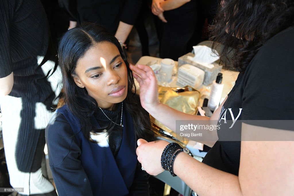 Mary Kay products are being used as models prepare backstage for Mary Kay at Tracy Reese F/W '16- Presentation during New York Fashion Week at Roxy Hotel on February 14, 2016 in New York City.