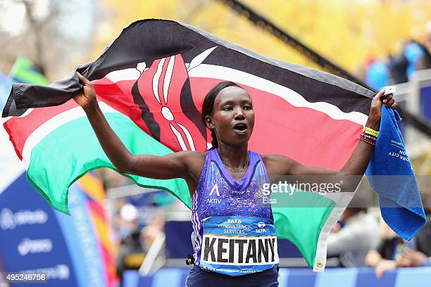 Mary Keitany of Kenya celebrates after winning the Pro Women's division during the 2015 TCS New York City Marathon in Central Park on November 1 2015...
