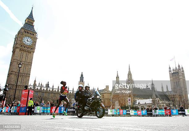 Mary Keitany of Kenya passes Westminster during the Virgin London Marathon 2012 on April 22 2012 in London England
