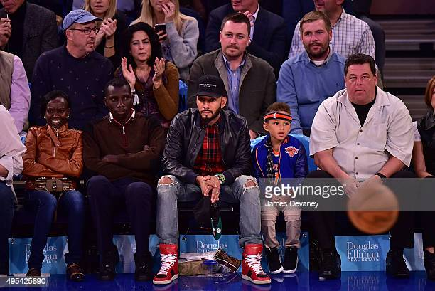 Mary Keitany Stanley Biwott Swizz Beatz Egypt Dean and Steve Schirripa attend the San Antonio Spurs vs New York Knicks game at Madison Square Garden...