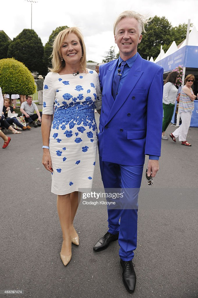 Mary Kennedy and Philip Treacy attend Ladies Day at the Dublin Horse Show 2014. Mary Kennedy is an Irish TV presenter on August 7, 2014 in Dublin, Ireland.