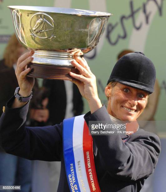 Mary King after winning the British Open on Call Again Cavalier during The Festival of British Eventing at Gatcombe Park Gloucestershire