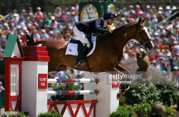 Mary King from Sidmouth Devon Great Britain atop Apache Sauce competes in the Stadium Jumping Phase as she finished 11th in the 2007 Rolex Kentucky...