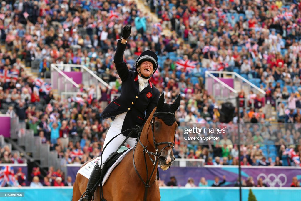 <a gi-track='captionPersonalityLinkClicked' href=/galleries/search?phrase=Mary+King&family=editorial&specificpeople=2183214 ng-click='$event.stopPropagation()'>Mary King</a> of Great Britain riding Imperial Cavalier celebrates in the Show Jumping Equestrian event on Day 4 of the London 2012 Olympic Games at Greenwich Park on July 31, 2012 in London, England.
