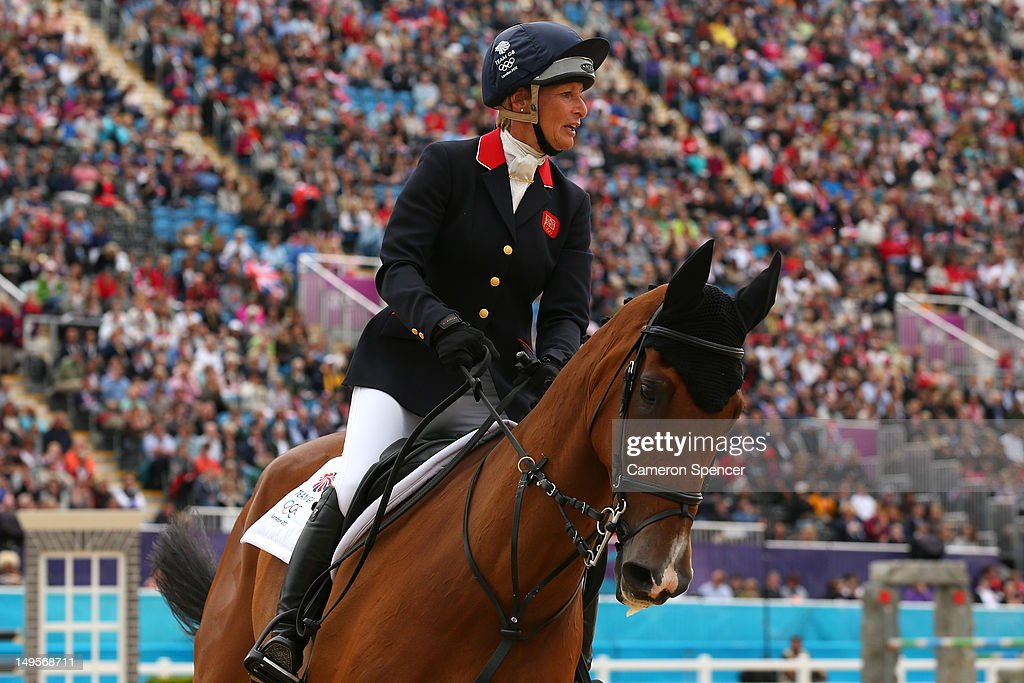 Mary King of Great Britain riding Imperial Cavalier celebrates in the Show Jumping Equestrian event on Day 4 of the London 2012 Olympic Games at Greenwich Park on July 31, 2012 in London, England.