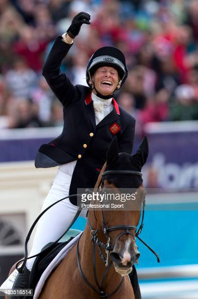 Mary King of Great Britain riding Imperial Cavalier celebrates in the Show Jumping Equestrian event on Day 4 of the London 2012 Olympic Games at...