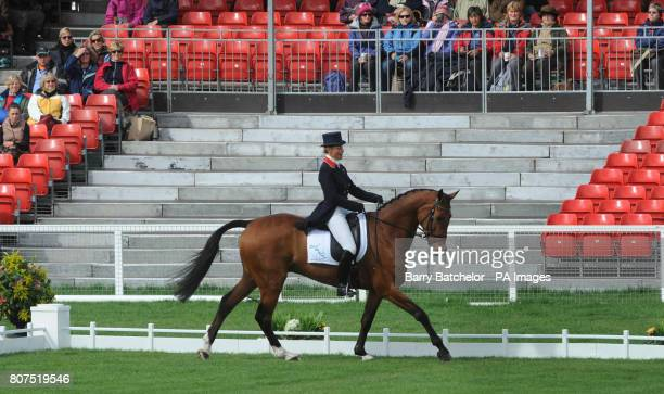 Mary King on Imperial Cavalier competing in the dressage during Day One of the Badminton Horse Trials at Badminton
