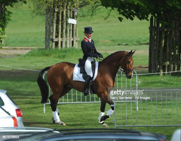 Mary King on Imperial Cavalier make their way back to the stables after completing in the dressage during Day One of the Badminton Horse Trials at...