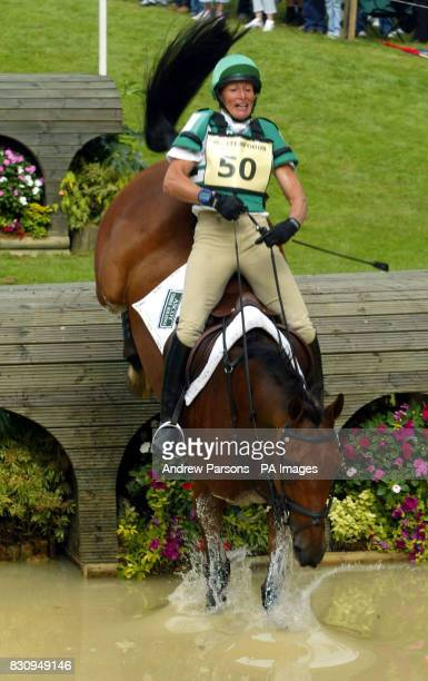 Mary King on King Solomon going over the Lower Trout Hatchery Burghley Horse Trials Cross Country Event