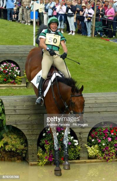 Mary King on King Solomon III clears the Lower Trout Hatchery at the Burghley Horse Trials Cross Country Event