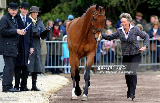 Mary King runs her horse Imperial Cavalier as the final inspection of horses takes place during Day Four of the Badminton Horse Trials at Badminton