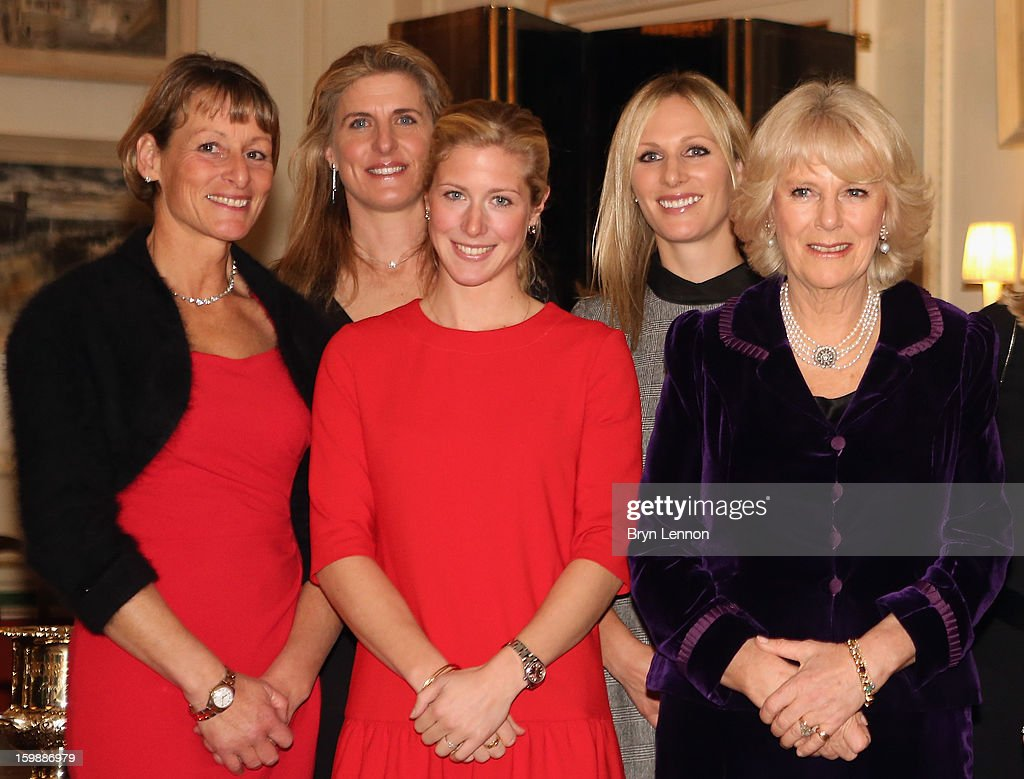 Mary King Tina Cook Laura Bechtolsheimer Zara Phillips and Camilla Duchess of Cornwall pose for a photo during a reception hosted by the Duchess of...