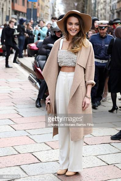 Mary Leest is seen in the streets of Milan during Milan Fashion Week 2015 on February 25 on February 26 2015 in Milan Italy