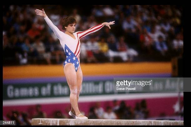 Mary Lou Retton of the United States in action on the balance beam during the Summer Olympics in Los Angeles California Mandatory Credit Steve Powell...