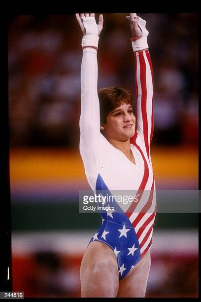 Mary Lou Retton of the United States in action on the balance beam during the Summer Olympics in Los Angeles California Mandatory Credit Allsport...