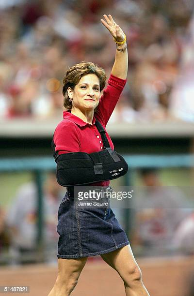 Mary Lou Retton throws out the first pitch before the start of the St Louis Cardinals versus Houston Astros in game three of National League...