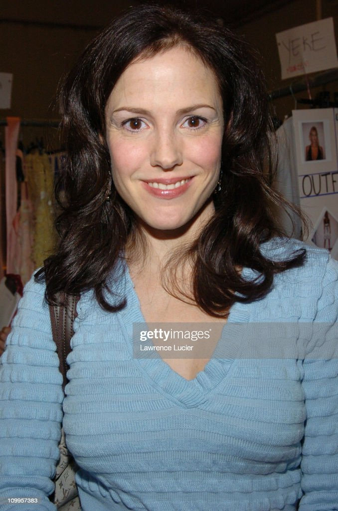 Mary Louise Parker during Olympus Fashion Week Spring 2005 - Luca Luca - Front Row and Backstage at Theater Tent, Bryant Park in New York City, New York, United States.