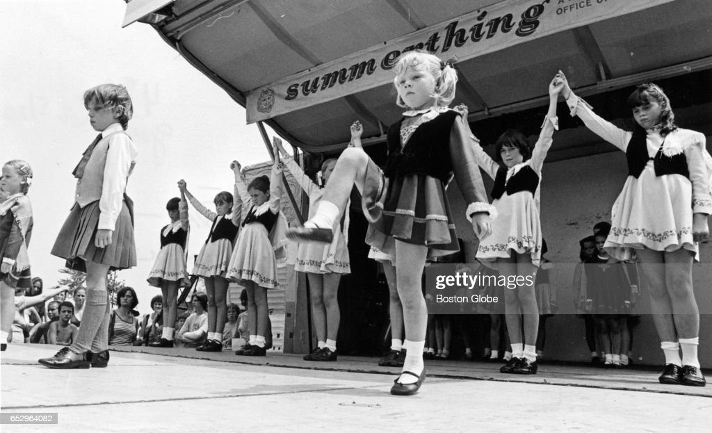 Mary Madden step-dancers entertain the crowd during a Southie Pride Day event at Marine Park in South Boston on Jul. 23, 1978.