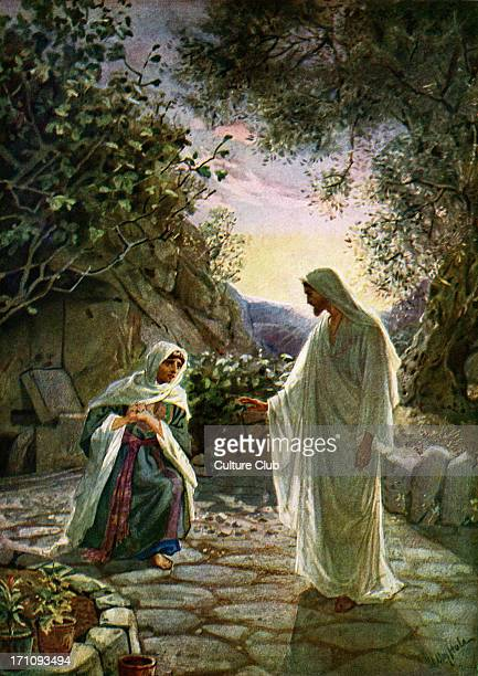 Mary Magdalene speaks to the risen Jesus after first mistaking him for the gardener 'Jesus saith unto her Touch me not for I am not yet ascended to...