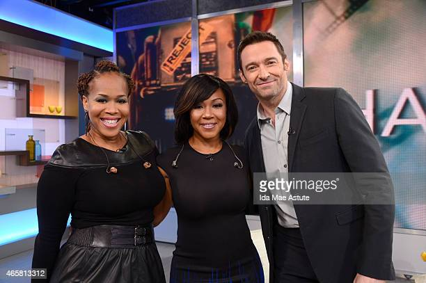 AMERICA Mary Mary meets Hugh Jackman backstage at GOOD MORNING AMERICA 3/5/15 airing on the ABC Television Network